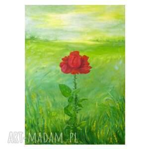 wyjątkowy prezent, róża, obraz symboliczny, delikatność i moc, pejzaż