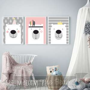 ZESTAW PLAKATÓW dla dzieci Trzy urocze Misie A4, miś, różowy, obrazki, plakaty