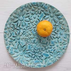 ręcznie wykonane ceramika patera niebieska łąka