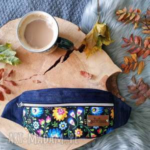 kolorowa nerka folkowa w kwiatki, nerka, saszetka na pas, mała torebka