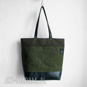 Torba shopper na ramię , wytrzymala-torba, solidna-torba, pojemna-orba, oliwkowa
