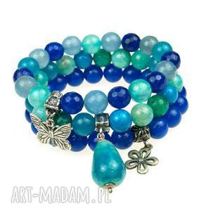 komplet niebieskich bransoletek ze srebra i kamieni a543 - zestaw bransoletek, niebieskie