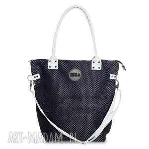 na ramię torba worek plecionka czarna #biały, modna, do-pracy, elegancka