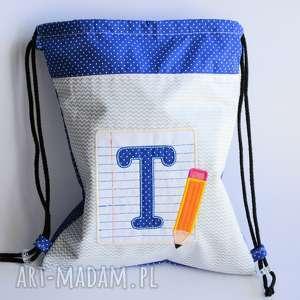 worek plecak z literką i ołówkiem - worek, plecak, szkoła, dziecko