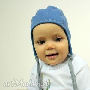 hand made ubranka czapka pilotka wiązana - niebieska