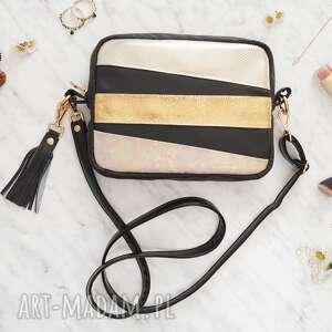 Nicole box bag black&gold torebki black pearl cat torebka box, na ramię,
