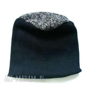 czapka damska męska unisex czerń wełna szary, czapka, zimowa, etno, boho, kolorowa