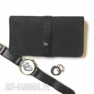 hand-made portfele portmonetka z paskiem z wzorem węża