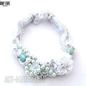 white mint naszyjnik handmade, naszyjnik, biały, miętowy, pistacjowy