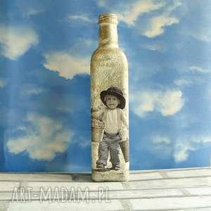 magisches-atelier vintage chłopczyk butelka z kolekcji - decoupage