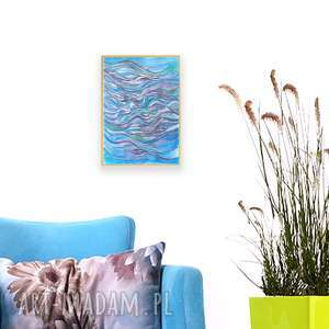 oprawiony obraz z morzem, abstrakcja obraz, morze rysunek, akwarela, nowoczesna grafika