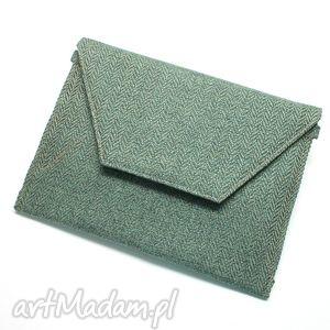 kopertówka - tkanina w jodełkę aqua - elegancka, nowoczesna, prezent, wesele