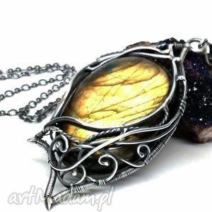 złoty labradoryt w srebrze, labradoryt, zółty, srebro, bużuteria, wisior