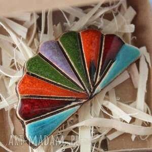 święta, wachlarz-broszka ceramika, minimalizm, prezent, urodziny, nauczyciel