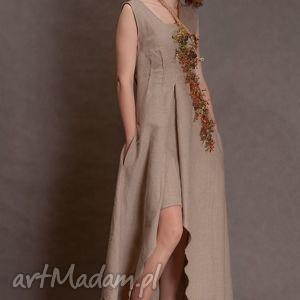 lniana beżowa sukienka, lniana, beżowa, artystyczna, jedyna, len