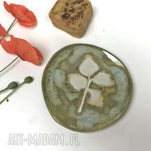 ceramika ceramiczna mydelniczka w zieleni, polskie rzemiosło, polska