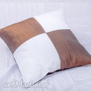 poduszka z tafty - biało brązowa, poduszka, dekoracyjna, ozdobna, poliester, tafta