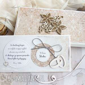 kartka ślubna w pudełeczku pełnym. personalizowana treść