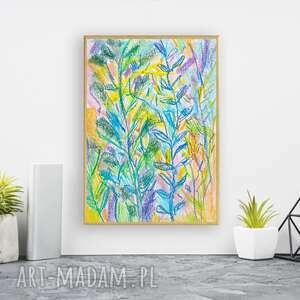 oprawiony rysunek z dżunglą, dżungla obraz malowany ręcznie, kolorowy szkic