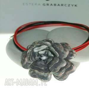 wisior-miedziany kwiat, wisior miedziany biżuteria autorska