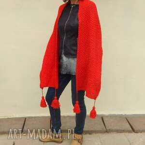 szaliki czerwony szal z chłostami, zimowy szal, ciepły chłosty, wełniany