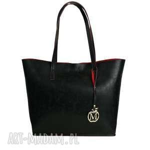 duża klasyczna torebka manzana miejski styl 2w1 czerwony środek, torebka, torba