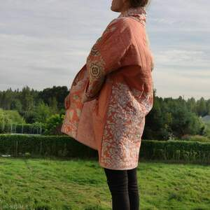 płaszcz patchworkowy długi boho - waciak, folk, płaszcz patchwork kimono