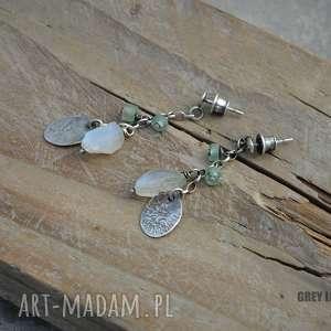 Kolczyki ze szkłem antycznym i kamieniem księżycowym, srebro, kamień, księżycowy