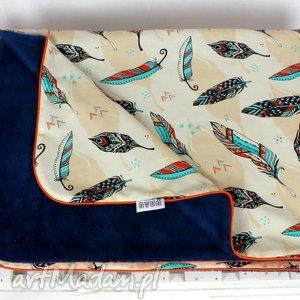 Kocyk Minky 75x100 Pióra Granat , kocyk, kołderka, minky, pióra, dziecko, niemowlę
