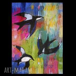 Jaskółki 2, rysunek, ptaki, unikat, radzka, pastele, jaskółki