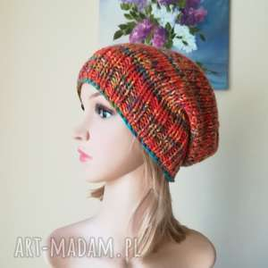 czapki kalejdoskop akrylowa czapka, rękodzieło, kolorowa, bezszwowa, czapka