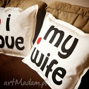 Komplet I LOVE MY WIFE, poduszka, bawełna, filc, napisy