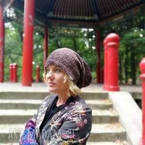 czapka damska brązowa długa ciepła - czapka, etno, boho, zima, smerfetka