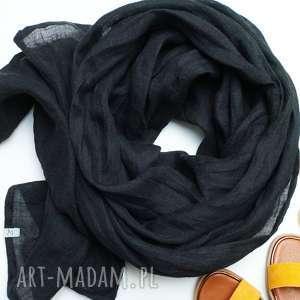 pracownia zolla lniany szal chusta w kolorze czarnym, modny szalik handmade