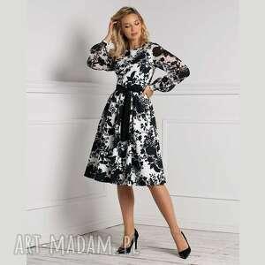 sukienki sukienka kristi midi debora, sukienka, modny print, czarno biała