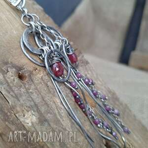 arvena rubiny - kolczyki 001, srebro oksydowane, rubin, długie kolczyki