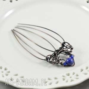 something blue - grzebyk do włosów z jadeitem, spinka, grzebyk, grzebień-do-włosów