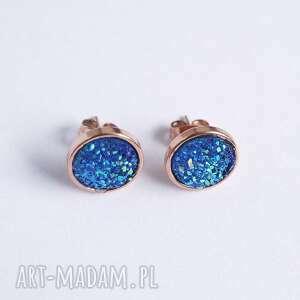liliarts kolczyki sztyfty - druzy niebieskie mini, stal, kolczyki