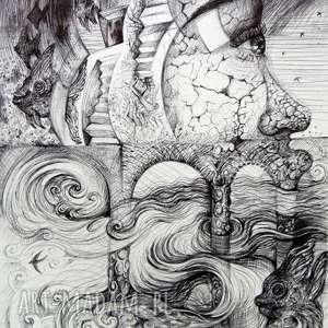W meandrach umysłu, rysunek, ryby, jaskółki, portret, kobieta, twarz