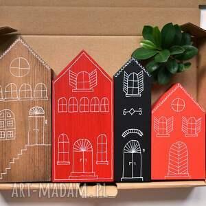 4 domki ręcznie malowane, domki, domek, kamieniczka, miasteczko, drewniane