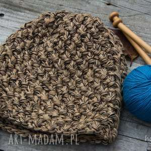 czapka handmade brązowo-beżowa - czapka, wełna, robiona-na-drutach, melanż