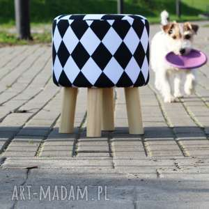 Pufa Arlekin - 36 cm , puf, taboret, hocker, vintage, stołek, ryczka