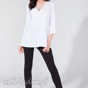 bluzka koszulowa ze wstążką t134 biały - bluzka, koszulowa, szyfon