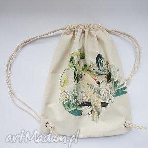 PAPUGA plecak / worek torba - płócienna, eco, nadruk, dźungla, ptak, rośliny
