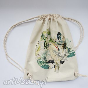 plecaki papuga plecak / worek torba - płócienna, eco, nadruk, dźungla, ptak