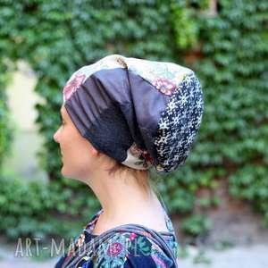 czapka damska księżniczka na ziarnku grochu kona po trochu - czapka, patchwork