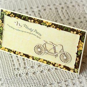 kolorowa kartka z tandemem, tandem, gratulacje, prezent na święta