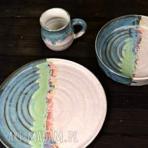 ceramika ceramiczny komplet - duo - kubek i 2 talerze rękodzieło artystyczne