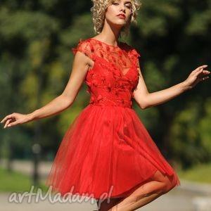 sukienka tiulowa z koronką 3d cr, tiulowa, koronka, rozkloszowana, mini, wesele