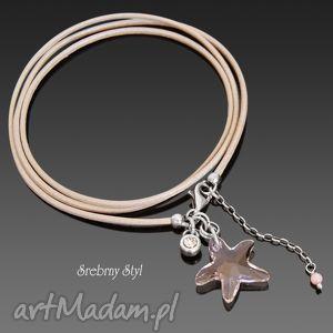 silk srebrny styl - rzemień, rozgwiazda, swarovski, srebro, koral